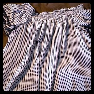 Off shoulders checked short dress-size XXL